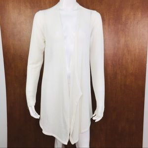 VOLCOM LIVED IN WHITE OPEN FRONT CARDIGAN